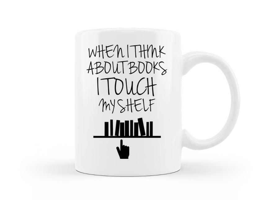 Ha a könyvekre gondolok - vicces kocka bögre könyvmolyoknak kép